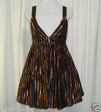 BEAUTIFUL SASS&BIDE S&B VIE COPPER & BLACK LUREX BABYDOLL DRESS 42/6 (AUS 10)