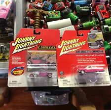 Johnny Lightning hot pink 1955 crown vic and 1923 t bucket new on card