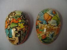 "Paper Mache Easter Egg Rabbit, Chick, Ducks, Lady Bug, Bird Germany 3.5"" Vintage"