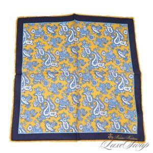 NWT Brooks Brothers Gold Navy Blue Aqua Splash Paisley Silk Pocket Square NR