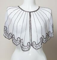 NEW SILVER SEQUIN PONCHO  SHRUG TOP WEDDING WHITE SEQUINS BOLERO COVER UP BRIDAL