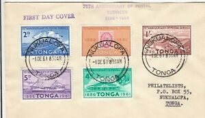 Stamps Tonga 75th anniversary postal services set of 5 on plain cover first day