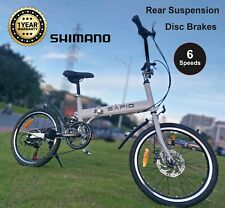 "Folding Bike 20"" Fold Carbon steel Frame Shimano 6 Speed Disc Brakes Bicycle"