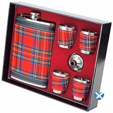 9oz Tartan Hip Flask BOXED Stainless Steel  LARGE  Cups & Funnel Whiskey Gift