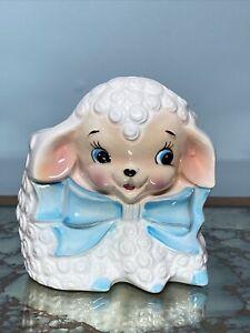 VintageCeramic Lamb/Sheep Baby Nursery/EasterPlanterW/ Blue Bow+ Pink Face