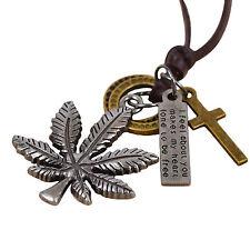 COLLANA UOMO PUNK STYLE pendente a marijuana con anelli targhetta e crocifisso