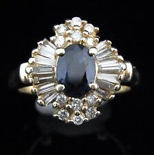 Vintage Sapphire Diamond Baguette & Round Cut 14k Yellow Gold Ring Estate
