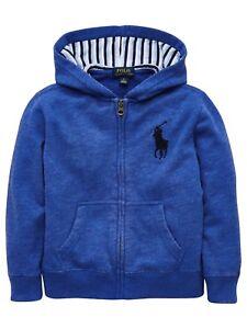 NWT Ralph Lauren Fleece Hoodie Boys Big Pony Blue New Iris Jacket Spring