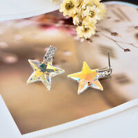 Stunning 18K White Gold GF Genuine Elements Crystal 19MM Star Drop Stud Earrings