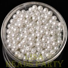 New 50pcs 6mm Round Glass Pearl Loose Spacer Beads Jewelry Making Pure White