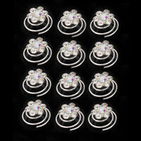 Silver 12Pcs Crystal Rhinestone Bridal Twists Flower Swirl Spiral Spins Hair Pin