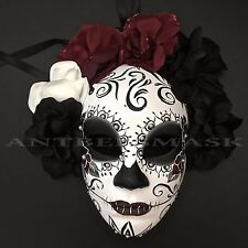 New Day of the Dead Sugar Skull Half Face With Flower Halloween Mask