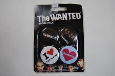 THE WANTED 4 x BADGE PACK NEW OFFICIAL BATTLEGROUND WORD OF MOUTH ALL TIME LOW
