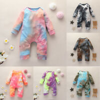 UK Infant Baby Boy Girl Tie-Dye Romper Jumpsuit Bodysuit Winter Clothes Outfits