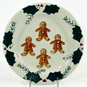 """Hartstone Pottery GINGERBREAD 8"""" Salad Dessert Plate Holly Berry Pine Sprig Mint"""