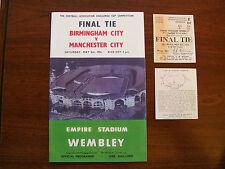 1956 F A Cup final programme & Ticket Manchester City v Birmingham City Mint con
