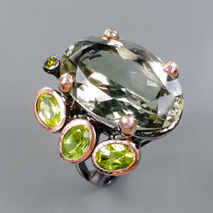 20x13mm Vintage SET Green Amethyst Ring Silver 925 Sterling  Size 8 /R177896
