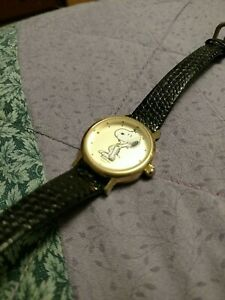 Vintage Snoopy Peanuts Armitron Watch - Black Leather Strap - Works Great!