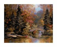 Woodland Forest and River DIGITAL Counted Cross-Stitch Pattern Chart Needlepoint
