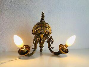 ✨ 2 Light Vintage Cast Brass Wall Sconce Spanish Revival Tudor Glass Shades