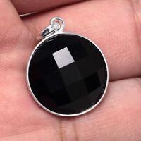 925 Sterling Silver Topaz Lab Black Onyx Gemstones Jewelry Necklace Pendant 21ct