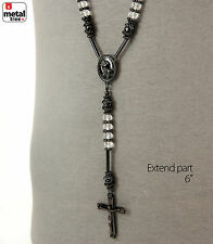Men's Hip Hop 8mm Clear Bead Black Rosary Pray Hand & Jesus Cross Necklace BKCL