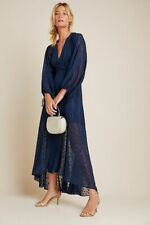New Anthropologie Leigh Wrap Maxi Dress by Hutch size L Navy NWT