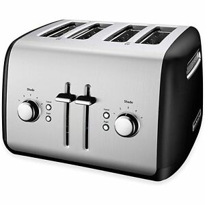 KitchenAid KMT4115OB 4-Slice All Metal Stainless Steel Toaster Black Extra Wide