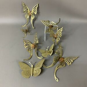 Home Interior Metal and Wood  Swallowtail Butterflies Wall Accents Lot Of 7 Pins