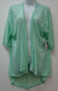 LuLaRoe Small Green Cardigan Draped Stretch Swimsuit Cover Lindsay Sheer NEW