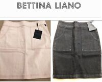 NWT Ladies Bettina Liano Comfy Stretch Denim Skirt, Black or Peach/Beige