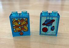 Lego Duplo Translucent Trans-light Blue Bricks Blocks Space Stars Planets Fish