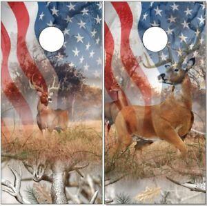 Deer Buck Snow Camo Flag LAMINATED Cornhole Wrap Bag Toss Skin Decal Sticker