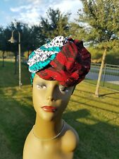 Red, Teal And White Head wrap;African Headwrap;African Clothing; African Fabric