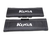 """2x Seat Belt Covers Pads Black Leather """"KUGA """" White Embroidery for Ford"""