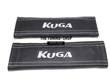 "2x Seat Belt Covers Pads Black Leather ""KUGA "" White Embroidery for Ford"