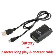 4800mah Batería + 2meter largo Cable Cargador Xbox 360 Wireless Controller
