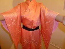 Authentic Japanese silk kimono for women, pink/cranes pattern (J567)