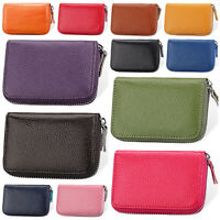 Women's Genuine Leather Credit Card Holder Accordion Style Zip Around Wallet