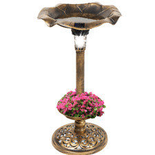 Antique Outdoor Bird Bath Solar Led Light Garden Vintage Planter Pedestal Decor