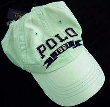 NWT POLO RALPH LAUREN strap back hat cap buckle 1967 block varsity spell-out grn
