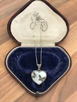 Sterling Silver Necklace Marcasite & Mother Of Pearl 7.43gr