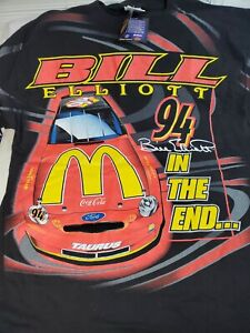 VTG Bill Elliott Mcdonalds Nascar T-Shirt All Over Print 90s RARE Sz XL #94 Ford