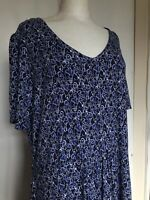 TU Size 22 Blue Heart Print Stretchy Valentines Viscose Kitsch Quirky Tea Dress