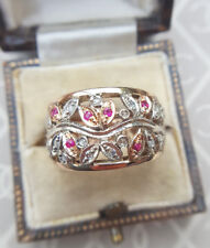 Antique Edwardian Inspired 9ct Rose Gold Diamond & Ruby Flower Garland Ring