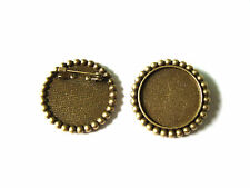 10 Antique Bronze Round Cameo Cabochon Setting Brooch Pins Tray 25x25mm Blanks