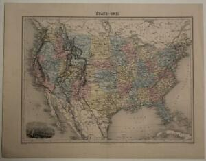 UNITED STATES & CANADA 1864 MIGEON ANTIQUE ORIGINAL COLORED LITHOGRAPHIC MAP