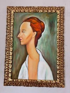 Amedeo Modigliani oil on canvas painting signed & stamped framed