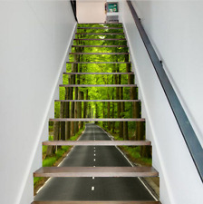 3D Green Forest Path Self-adhesive Waterproof Staircase Stickers Wall Murals