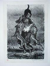 A. PAUL WEBER, Original Lithographie 1990, Nachlass, Hund und Katze